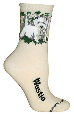 Westie Natural Color Cotton Ladies Socks