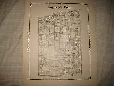 Antique 1891 Harmony Township Morrow County Ohio Map W Land Owners Detailed Nr