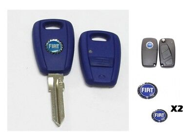 2 x REMOTE KEY FOB LOGO EMBLEM STICKER BADGE BLUE 14MM FOR FITS FIAT