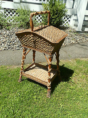 Fabulous Victorian Antique Wicker Sewing Stand