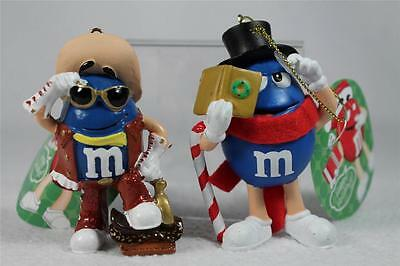 Set of 2-Blue Cowboy & Candy Cane  M & M's Ornaments #MM2101 NWT's!