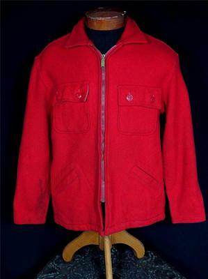 Very Rare Classic Vintage 1930'S-1940'S Red Wool Union Made Jacket Size Large