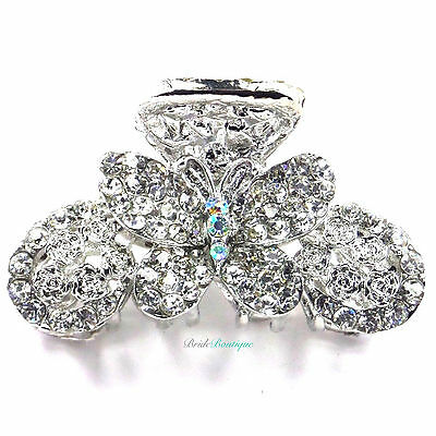 Bridal Wedding Prom Silver Crystal Butterfly Hair Claw Clip Grip Clamp CL04