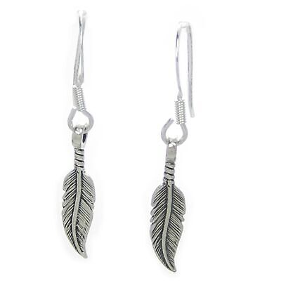 Feather sterling silver drop earrings .925 x 1 pair feathers drops SSF-4--HOOKS