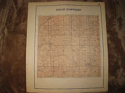 Antique 1898 Union Township Auglaize County Ohio Map Superb Nr