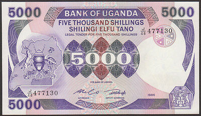 UGANDA  -  5000  SHILLINGS  1986  -  P 24b  Uncirculated Banknotes