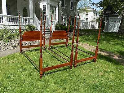 Gorgeous Pair Of Antique Four Poster Single Beds With Iron Rails