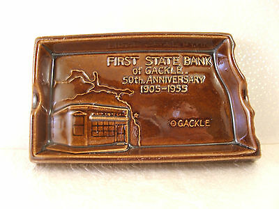 Rare Rosemeade 1955 First State Bank Gackle ND Ashtray