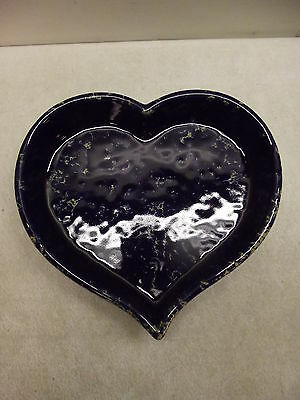 "BENNINGTON POTTERY LARGE HEART SHAPED BLUE AGATE BAKING DISH 12 3/8"" EXCELLENT"