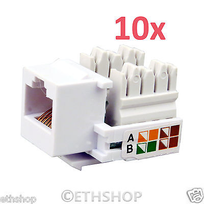 10x RJ45 Network Keystone Jack Cable Wall Adapter Plug Cat5e LAN Plastic Module