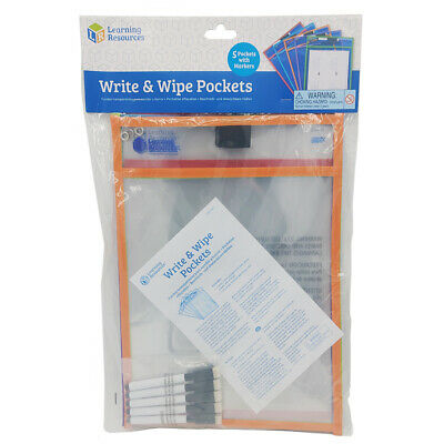 Learning Resources Write & Wipe Pockets (Set of 5) NEW