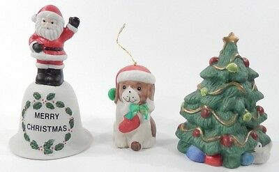 Lot of 5 Vintage 1976-1986 Porcelain/Wood Souvenir Merry Christmas Bells