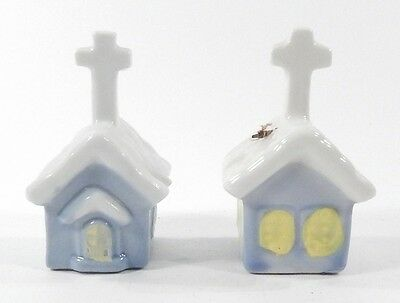 Lot of 2 Vintage 1982 Porcelain 4-Inch Tall Souvenir Church Shaped Cross Bells