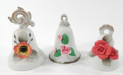 Lot of 6 Vintage White Porcelain Applied Porcelain Flower Collectible Bells