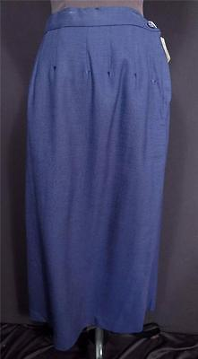 "Rare Vintage 1950's ""deadstock"" Never Worn Blue Rayon Gab Skirt Size 29"" Wais"