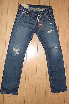 Abercrombie & Fitch Men's Remsen Distressed Low Rise Slim Straight Jeans 30x32