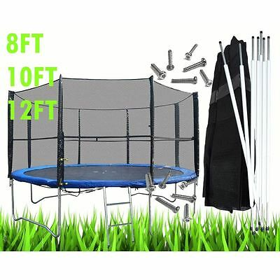 8 10 12 14FT Replacement Trampoline Safety Net Surround Set with Poles and Clips