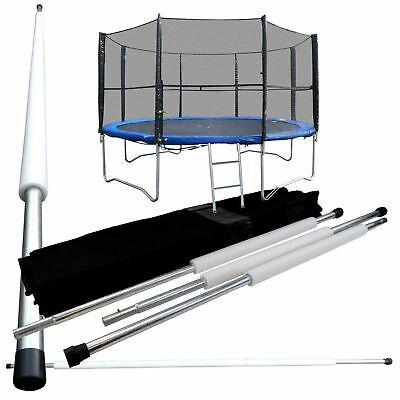 12FT 8 Poles Replacement Trampoline Safety Net Surround Set with Poles & Fixings