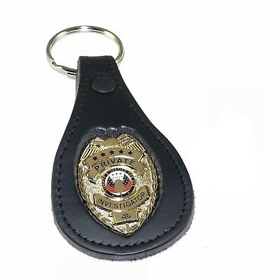 PI Private Investigator Mini Badge Leather Key Chain FOB Holder Ring Tag