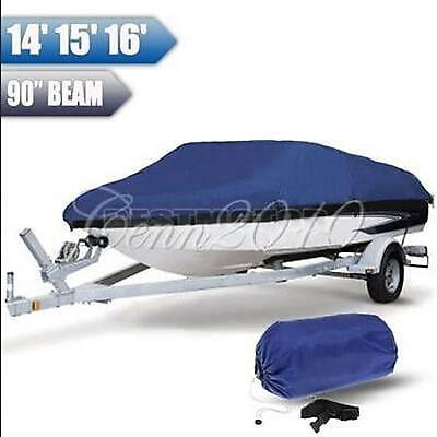 14'15'16' Boat Cover Heavy Duty Waterproof Trailerable Fish-Ski Blue Rectangle