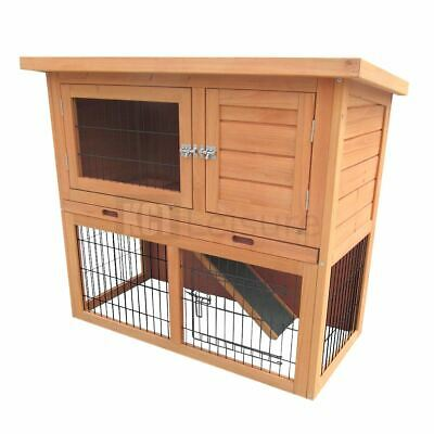 3Ft Outdoor Rabbit Hutch And Run Wooden Guinea Pig Bunny Pet House Garden Cage