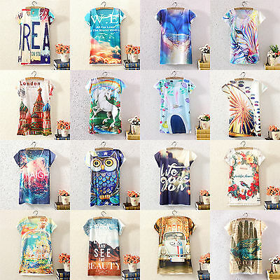 New Vintage Summer Womens Short Sleeve Graphic Printed T Shirt Tee Blouse Tops