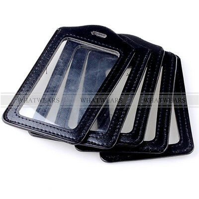 5x Black Faux Leather Business ID Credit Card Badge Holder Clear Pouch Case QQU