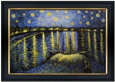 Framed Hand Painted Oil Painting Repro Van Gogh Starry Night Rhone 24x36in
