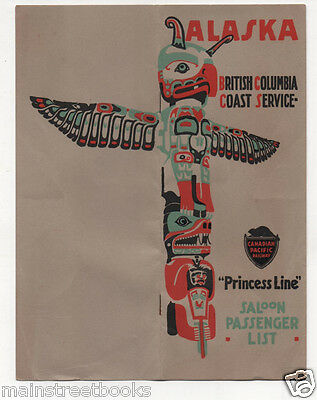 Saloon Passenger List 1920 SS Princess Alice TOTEM POLE Canadian Pacific Railway