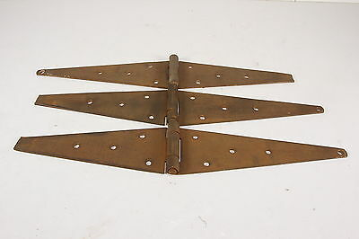 "Lot of 3 Vtg Antique Barn Door Strapping Hinges 22 3/4"" Across 9 Hole Primitive"