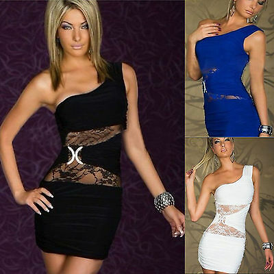 Hot Womens Sexy Dress Party Evening Lace One Shoulder Mini Dress Clubwear+T-back