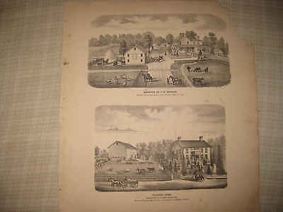 Antique 1873 Clinton East Union Township Wayne County Ohio Print Wooster Nr