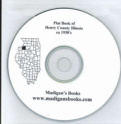 Henry Co Illinois IL Ca 1930's  plat book genealogy  history land owners CD