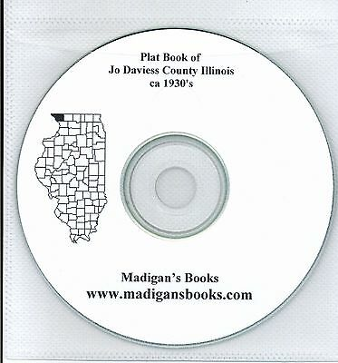 Jo Daviess Co Illinois IL Ca 1930's  plat book genealogy  history land owners CD