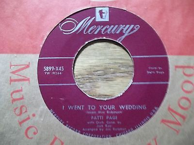 """PATTI PAGE """"I WENT TO YOUR WEDDING"""" 45 RPM"""