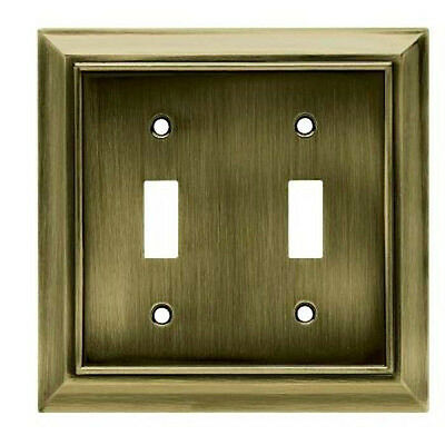 W10085-AB Architect Antique Brass Double Switch Combo Cover Plate