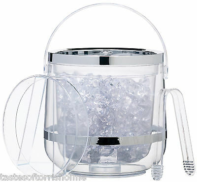 Kitchen Craft Clear Double Walled Insulated Acrylic Ice Bucket, Lid & Tongs Set