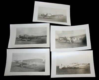 """Old Original Lot Of 5 1940`s WWII Airplanes 5"""" x 3 1/2"""" Black  White Photographs"""