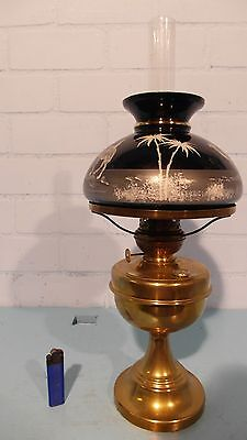 BRASS TABLE OIL LAMP WITH SHADE MARY GREGORY STYLE ORIENTAL SCENE