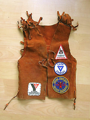Vtg 70's YMCA girls camp fringed suede vest Crosley Indian princess patches