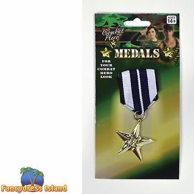 ARMY COMBAT MILITARY MEDAL Mens Womens Fancy Dress Costume Accessory
