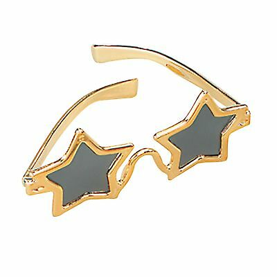 1970S DISCO GOLD NIGHT FEVER STAR GLASSES - mens womens fancy dress accessory