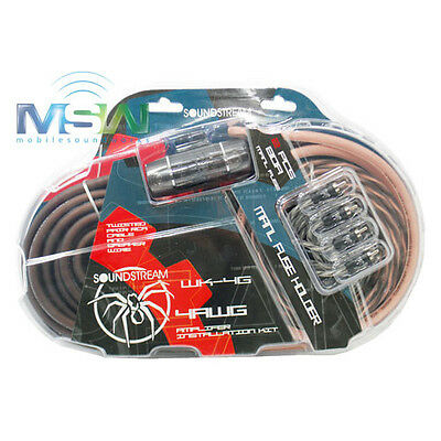 SOUNDSTREAM® WK-4G 4 AWG GAUGE COMPLETE CAR AMPLIFIER AMP WIRE KIT w/ RCA CABLES