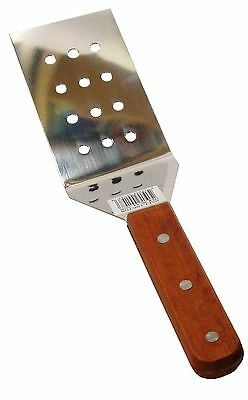 """12"""" Wood Handle Perforated Stainless Steel Riveted BBQ Grilling Spatula Turner"""