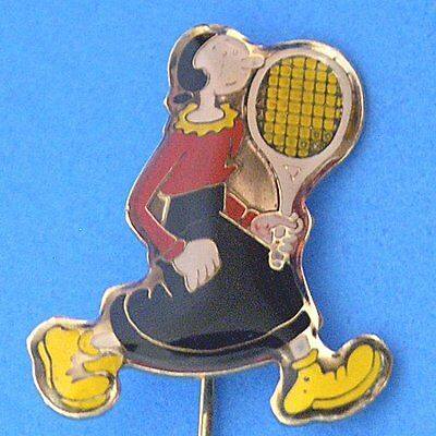 M106 Vintage Small Cartoon Olive Oly in Popeye Tennis Stick Pin Lacquered New