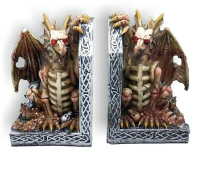 """SKELETON DRAGONS MYSTICAL FANTASY BOOKENDS"" Amazing Detail ~ Brand New"