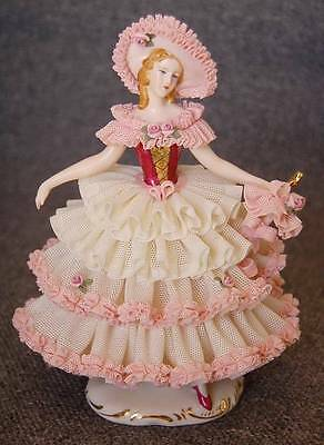 LOVELY GERMAN DRESDEN PINK WHITE DRESDEN LACE TRIMEED LADY WITH PARASOL