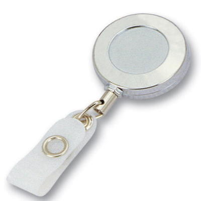 Lot 10 Blank Solid Metal Chrome Retractable ID Badge Card Holder Pull Reel Clip