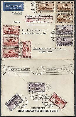 Saar covers 1932 interesting Airmailcover to Buenos Aires