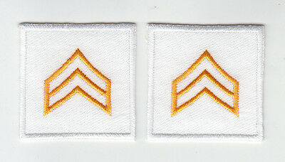 Police/Sheriff SGT Sergeant Chevron DARK GOLD on WHITE collar/lapel patches